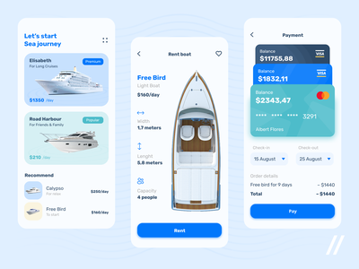 Yacht Renting App journey boat sea booking renting rental app rent yacht yachting yacht club startup mvp online react native mobile ux ui purrweb design app