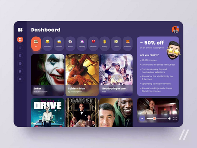 Online Cinema App animation website ecommerce tablet merch dashboad film movie cinema web startup mvp online react native mobile ux ui purrweb design app