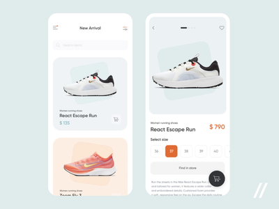 Sneakers Store App product page animation size sneaker shop store shopping cart shopping app shop ecommerce sneakers startup mvp online react native mobile ux ui purrweb design app