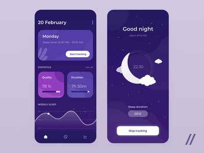 Sleep Tracker App alarm clock animation stats statistics tracking tracker night sleep app sleep tracker sleep startup mvp online react native mobile ux ui purrweb design app