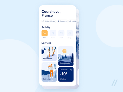 Travel & Activity Booking App booking activity map skiing resort ski hike hiking travel app travel startup mvp online react native mobile ux ui purrweb design app