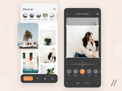 Photo Gallery App photo editor categories photoshop photographer effects gallery edit image editing photography photo startup mvp online react native mobile ux ui purrweb design app