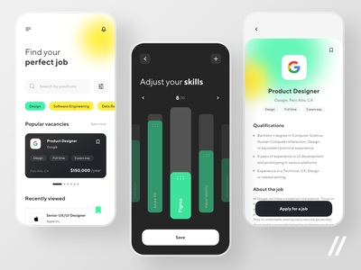 Job Finder App settings resume profile skills jobseeker job finder finder jobs job listing job board startup mvp online react native mobile ux ui purrweb design app