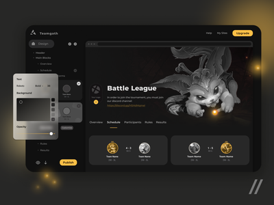 Team Website Builder Platform for Gamers gold black website builder team competition gamers game webapp website web startup mvp online react native mobile ux ui purrweb design app