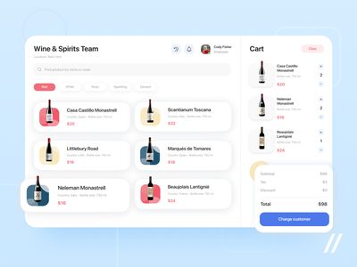Wine Shop POS App website ecommerce cart shopping cart drinks point of sale shop wine pos web startup mvp online react native mobile ux ui purrweb design app