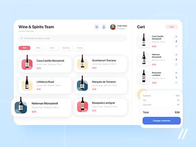 Wine Shop POS App website ecommerce cart shopping cart drinks point of sale shop wine pos web startup mvp online react native mobile ux ui purrweb design app