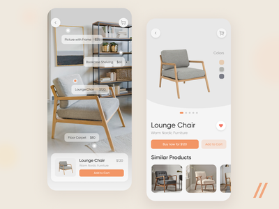 Interiors Online Store App interior soft colors purchase furniture store store shop ecommerce shopping cart chair furniture startup mvp online react native mobile ux ui purrweb design app