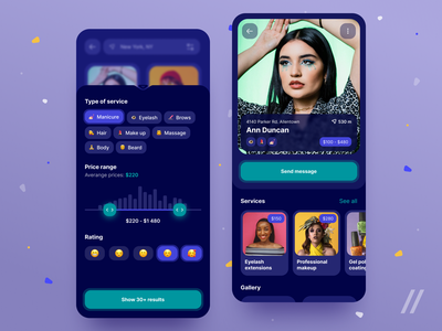 Beauty Services App stylist style salon haircut makeup massage manicure marketplace service beauty startup mvp online react native mobile ux ui purrweb design app