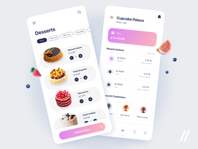 Cake Bakers App delivery order food desserts cakes ecommerce marketplace baker bakery cake startup mvp online react native mobile ux ui purrweb design app