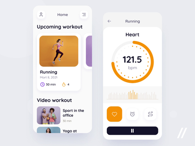 Fitness App sport health animation excercise running coach training wellness fitness workout startup mvp online react native mobile ux ui purrweb design app