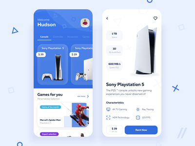 Video Game Console Rental App rental app rental console spiderman play videogame game playstation ps5 rent startup mvp online react native mobile ux ui purrweb design app