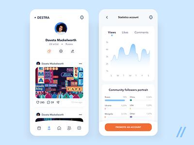 Social App for artists promo promotion statistics social network social app social media artwork social artist art startup mvp online react native mobile ux ui purrweb design app