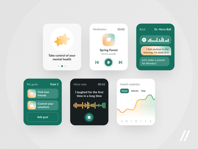 Mental Health App for Apple Watch apple watch statistics meditation tracker mood psychology mental health health mental watch smartwatch startup mvp react native online ux ui purrweb design app