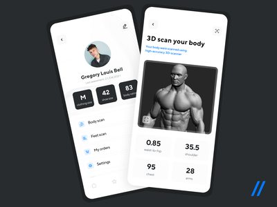 3D Body Scanner App chest body scan size 3d modeling model 3dmodel scanning body scan 3d startup mvp react native online mobile ux ui purrweb design app