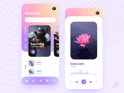 Meditation Music App (Headspace Redesign) headspace wellness yoga relaxation relax purple minimal mindfulness music meditation startup react native mvp online mobile ux ui purrweb design app