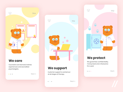Kids Mental Health App blue pink yellows kids children illustration health mental health psychology mental startup react native mvp online mobile ux ui purrweb design app