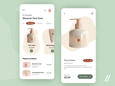 Cosmetics Store App products shopping catalog cream store marketplace ecommerce face care skin care cosmetics startup react native mvp online mobile ux ui purrweb design app