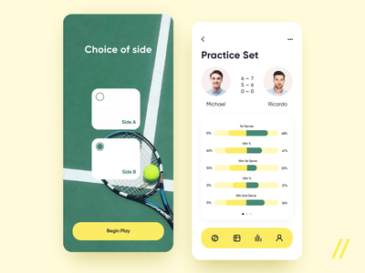 Tennis App match tennis player green play game tennis ball lifestyle activity sport tennis startup react native mvp online mobile ux ui purrweb design app