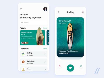 Sport Dating App tinder activity datingapp friends surfing surf sports dating app love matchmaking dating startup mvp online mobile ux ui purrweb design app