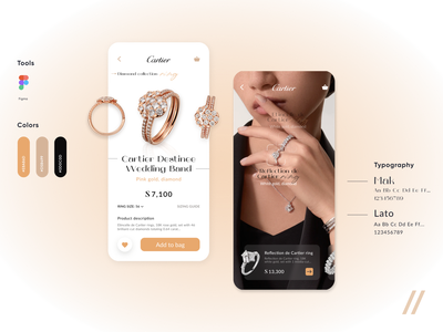 Jewelry Store App (Cartier App Redesign) brand redesign shop store ecommerce diamond gold luxury lux jewelry cartier startup mvp mobile online ux ui purrweb design app