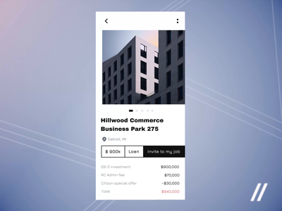 Real Estate Investments App real estate app building finance apartments startup mvp motion graphics usa fintech citizenship investment real estate animation mobile online ux ui purrweb design app