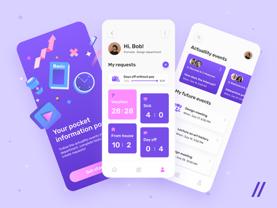 Information Portal for IT-companies work from home planning data news tool manager human resources hr info mobile app design uiux startup mvp mobile online ux ui purrweb design app