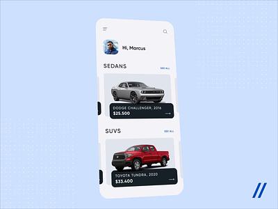 Cars Marketplace App interface sharing ecommerce automobile car animation 3d marketplace vehicle startup mvp cars illustration mobile online ux ui purrweb design app