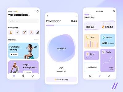 Fitness App healthy uiux energy strength sports app yoga app sport training mvp mobile lifestyle wellness health fitness startup ui ux purrweb design app