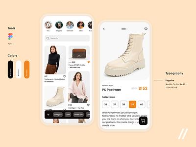 Clothes Marketplace App react native streaming stories shopping app mobile app brands clothes store shop marketplace shopping mobile mvp startup online ux ui purrweb design app