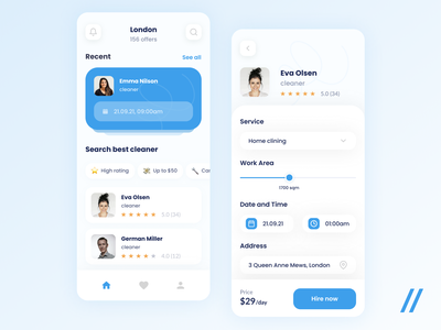 Cleaning Services App react native rating cleaners home cleaning search aggregator service providers service marketplace mobile clean cleaning mvp startup online ux ui purrweb design app