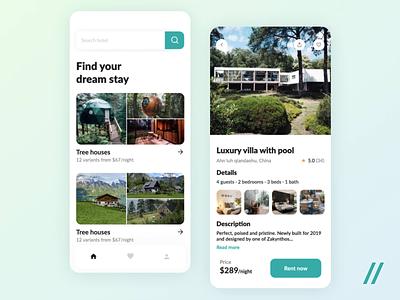 Real Estate Rental App booking rent house apartments green react native mvp animation mobile real estate rental app redesign airbnb startup online ux ui purrweb design app