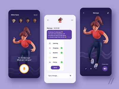 AI Chat Bot App illustration mobile app design chat bot bot live chat 3d assistant chat react native mvp mobile animation chatbot startup online ux ui purrweb design app