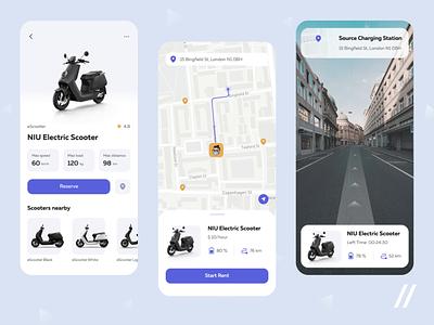Scooter Rental App mvp transport marketplace sharing booking rental app map animation mobile rent rental scooter startup online ux ui purrweb design app