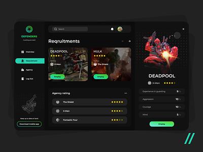 Defenders App safety hero superhero website mvp guard security web app animation platform defenders avengers web startup online ui ux purrweb design app