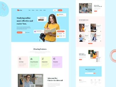 E-learning landing page exploration design product design product website clean creative ux landing page web ui ui web classroom education website learning platform online learning ui design online course elearning eduaction