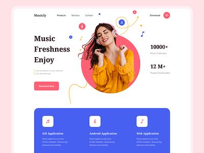 Musicly - Music App Landing page website website design best web design web interface popular landing page landing page music applanding page music app music