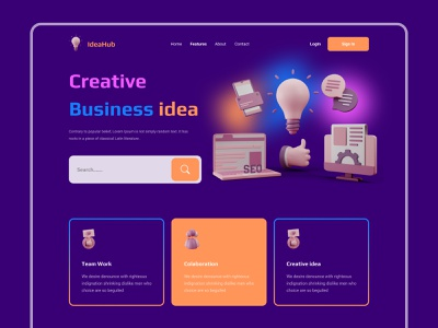 IdeaHub - Business landing page website ui design web design homepage website design web interface designer landing page 3d business digital agency