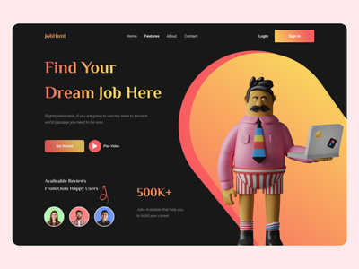 JonHunt - Job Landing Page website web design website design landing page design web ui designer home page ui design landing page 3d web interface job job website job portal