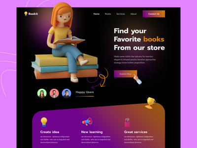 Bookit landing page web design website design landing page design designer home page ui design landing page web interface interface book store