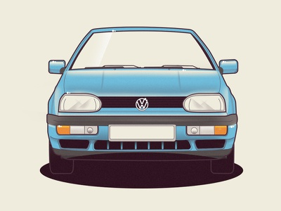 VW Golf 3 volkswagen golf vw vector car illustration