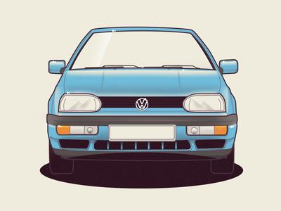 VW Golf 3 volkswagen golf vw vector car illustration