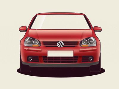 VW Golf 5 volkswagen golf vw vector car illustration