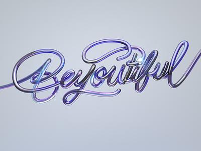 Beyoutiful lettering cinema branding graphic design 3d