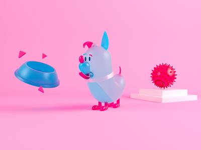 Plastic Dog illustration characters design 3d