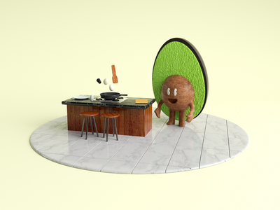 Your breakfast tastes better with Avocadito graphic design kitchen render avocado characters 3d