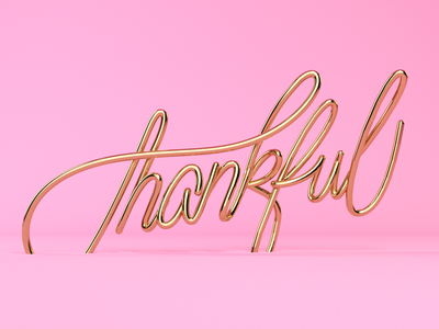 Thankful octane gold 3d calligraphy type lettering