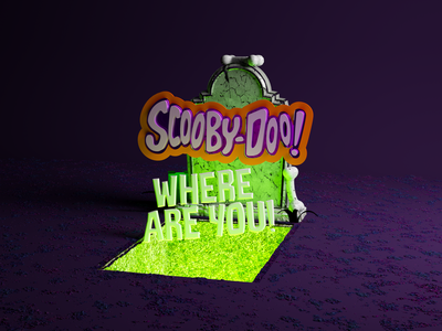 Scooby doo! Where are you! sccoby doo 3d cartoon illustration calligraphy type lettering