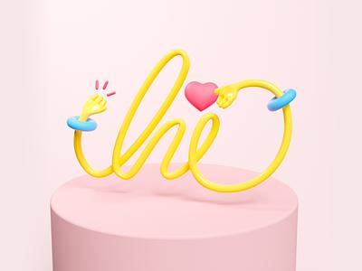 Hi everyone... 3d illustration letters design type lettering