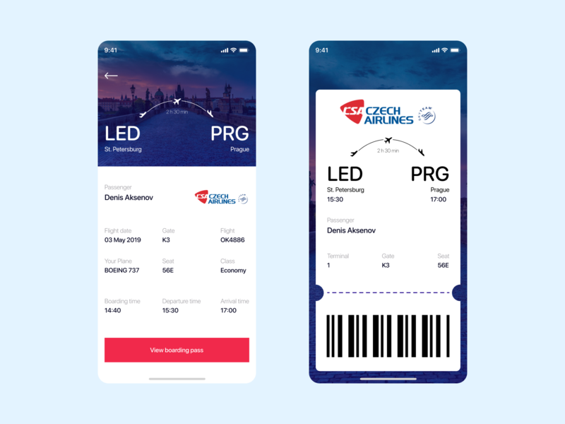 Daily UI #024 - Boarding Pass mobile boarding pass app concept ux ui uxdesign uidesign figma design dailyui
