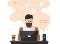 Eliminate Distractions distraction procrastination flat social media work vector laptop office home phone coffee illustrator illustration character design character